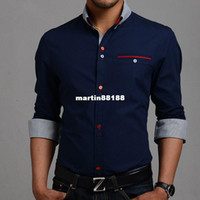 Wholesale 2014 men s urban fashion shirts Korean version of the trend of long sleeved clothes