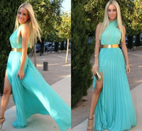 New Arrival 2014 Halter Prom Dresses Ruffle Floor- Length Zip...