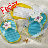 Wholesale 100pcs Nice design Flip Flop Slipper Luggage Tag Favor Beach Themed Gift Boxes Bridal Shower Party Favor Gifts