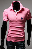 Men Polo British Noble Fashion Wholesale - NEW 2014man's pink Shirts Deer embroidery Turn-down Collar T-shirts Casual Fashion Short Sleeve-CZJ842H