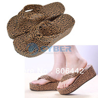 Wholesale 2013 Summer Female Sandals Wedges Slippers Leopard Print Platform Flip Flops