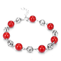 Wholesale Aivni fashion sterling silver agate bracelet use natural red agate for lover gift Bry2904