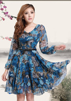 Wholesale 2014 New Vintage Women Chiffon Dress Floral Print Jumpsuit V Neck Long Sleeve Dress Blue G0420