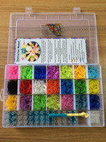 12-14 Years Multicolor Rubber Rainbow loom kit clear plastic box for Kids DIY bracelets with 4200ps rubber bands+100 clips+1 hook 100pcs