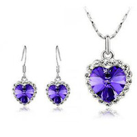 Wholesale Swarovski crystal jewelry sterling silver diamond suit necklace and a pair of earrings Color optional z040