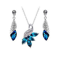 Wholesale Austrian crystal diamond jewelry set sterling silver jewelry necklace and a pair of earrings Swarovski Crystal Elements z049