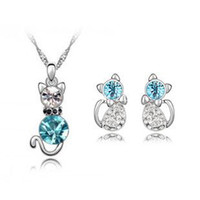 Wholesale austrian crystal jewelry sterling silver jewelry set with diamonds Nice cat necklace and a pair of earrings z073