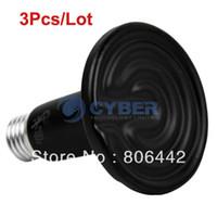 Wholesale Cheap Black W V Ceramic Heat Lamp Bulb Reptile Pet Amphibian Poultry Bulb Pet Heat Light TK0989