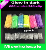 Wholesale 6pack Glow in dark rainbow loom bands colorful noctilucence light DIY Bracelets Rubber band band S clip