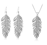 Wholesale 3pcs set_ A necklace a pair of earrings Feather shape jewelry three sets SWAROVSKI CRYSTALS JEWELRY SETS z014