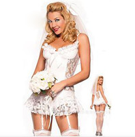 Wholesale 2014 Cheap White Bridal Womens Lingerie Lace Sheer Bustier Nightdress Open Bra Sexy Cosplay Party Underwear HX