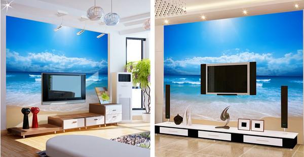 La carta da letto tv parete della regolazione salotto sul mare 3d ...