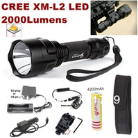 Wholesale Car Mount Holster - 1set C8 NEW CREE XM-L2 LED 2000lm Spotlight Tactical Flashlight+mounts Remote switch battery charger Car charger holster