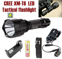 Wholesale UltraFire C8 Mode NEW CREE XM L T6 LED Flashlight Torch Tactical light Tactical mount Remote switch battery Charger Holster
