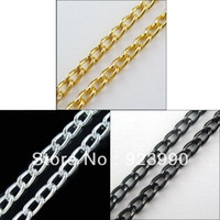 Chains anodized aluminum rings - M Anodized Aluminum Chain Link Curb Chain mm Ring Gold Silver Black For Jewelry Making Craft DIY