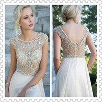 New Arrival 2014 Cheap Sheer Lace Crew Chiffon Prom Dresses ...