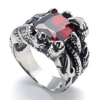 Band Rings Celtic Men's Fashion Jewelry Red Stone Vintage Stainless Steel Dragon Clow Men's Ring, Color Red Black US Size 7-12 Drop Free Shipping