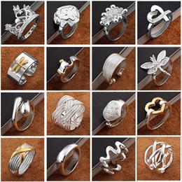 Newest arrival Fashion Jewelry 925 silver finge rings Beautiful women girls Multi Styles Rings Mix size Charming gift 60pcs lot Hot Sale