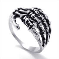 Band Rings african tribe - Fashion Jewelry Mens Biker Tribe Gothic Stainless Steel Skull Skeleton Hand Ring Silver US Size Drop
