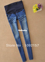 Wholesale 100 cotton trousers for pregnant woman jeans Maternity jeans bule losse pockets elastic waist knitted solid