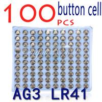 Wholesale 100pcs LR41 AG3 SR41W GP192A LR736 Button Watch Battery Cell Cion Batteries