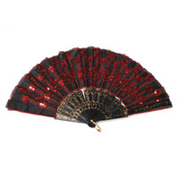 Wholesale NEW Ladys Embroidered Spanish Hand Lace Fan With Sequin Wedding Dancing Home Party Decoration Red