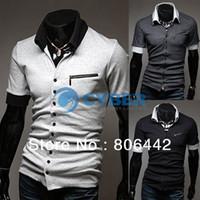 Men Polo Tops Cheap Men's Stylish T-shirts Casual Slim Fit Short Sleeve Polo Shirt Tee Shirt 3Colors 4Sizes 16001