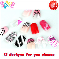 Decal 2D Metal Free Shipping ( 4sets lot ) 2013 New Arrival 3D French Acrylic False Nail Full Tips With Free Nail Glue Wholesale