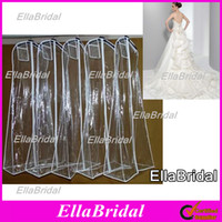 Wholesale In Stock No Logo Cheap White Plastic Waterproof Long Wedding Dress Gown Bag Garment Cover Travel Storage Dust Covers with Pouch Pocket Top