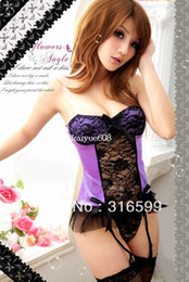 Wholesale lingerie Purple Garter Fancy Perspectivity One piece Sexy Split Sleepwear Royal Vest Sexy Underwear Set US1280