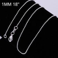 Cheap Free Shipping Wholesale 10pcs lot 925 Sterling Silver Chain 925 Silver Plated 1mm 18 inch ball chain Necklace C004
