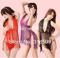 Front Fork sexy clothing wholesale - Lingerie Sexy Clothing Set Sexiest Porn Sleepwear Tassel Erotic Lace Nightwear Skirt Women s Dropship US1191