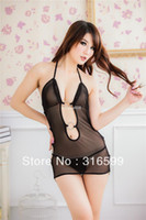 Babydoll Lace Costumes Free Shipping Open Front and Backless Sexy Babydolls Transparent Erotic Lingerie with Thong Panty Wholesale Drop Ship US1413