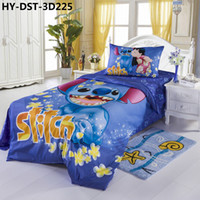 Twill Knitted HYY-3D-225 Free Shipping 100% Cotton Fashionable 3D Cartoon Characters Lilo and Stitch Printed Bedding Set, 3pcs 4pcs Popular Bed Linens