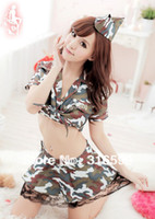 Polester camouflage lingerie - lingerie Sexy Alive Girl School Uniform Cute Adorable Camouflage Lace Hem Skirt Uniform Dropship US1608A
