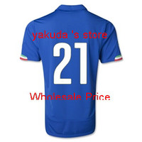 Italy 2014 PIRLO 21 Home Blue Soccer Jersey, Italy 2014 World...