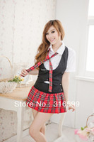 Wholesale lingerie Sexy grid girls costume high school fancy dress party costumes school uniform Drop ship US1683A