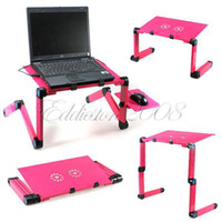 Lapdesks Yes 52.7 cm Free Shipping 360 Degree Portable Folding Metal Rose Red Laptop Computer Notebook Table Stand Desk Bed Sofa Tray Office
