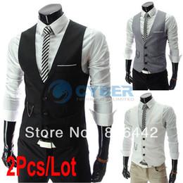 Wholesale 2Pcs New Arrival Men Suit Vest Slim Dress Vests Men s Fitted Leisure Waistcoat Casual Business Jacket Vest Tops