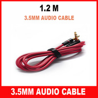 Wholesale 200pcs Red m mm Male to Male L Plug Stereo AUX Audio Cable For Monster Beats Headphone cell phone