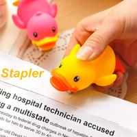 Wholesale 6 Yellow duck stapler Mini cartoon staplers for No staple Kwaii stationary Office accessories School supplies