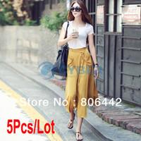 Women 100% Linen Pockets shirt 5Pcs Lot Korea Women's Irregular Loose Pocket Chiffon Long Skirt Beach Skirt Size M L 17603