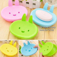 Soap Dishes Yes Plastic 10 pcs lot Cartoon rabbit Soap dish Bathroom accessories Soap shelf Holder Zakka home decoration Novelty household items TB8544