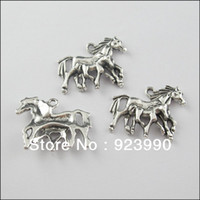 Wholesale Tibetan Silver Tone Horse Mother and Child Charms Pendants x29mm For Jewelry Making Craft DIY