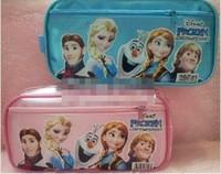 Cheap Fashion Boys Girls Frozen Princess Elsa Anna Pink Blue Pencil Box Cartoon Pattern Multifunction Double Layer Pencils Case Boxes B3308