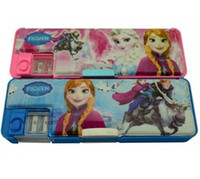 Wholesale Fedex EMS Frozen Cartoon Character Children Pencil Box Princess Anna Elsa Lovely Pink Pencil Cases Double Layer Design Pen Holder B3309