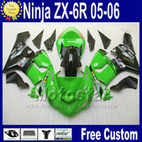 Wholesale 7 Gifts Fairings Free Seat cowl for Kawasaki Ninja ZX R ZX R ZX6R zx636 green black ABS fairing kit fg23