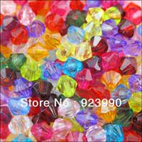Livraison gratuite 1000Pcs Facettes du Plastique Acrylique de BRICOLAGE Lucite Bicone Perles intercalaires 4mm Noir Blanc Brun-Rouge, Mixte, etc Pour les Bijoux BRICOLAGE