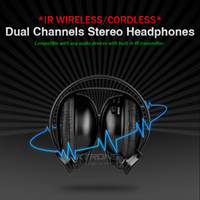 Wholesale Stereo Sound Dual Channel IR Wireless Cordless Headphone with IR transmitter for Car Roof Headrest DVD Portable DVD Player