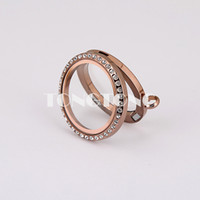 Wholesale 30mm magnetic closure chocolate L stainless steel floating charm lockets with crystals